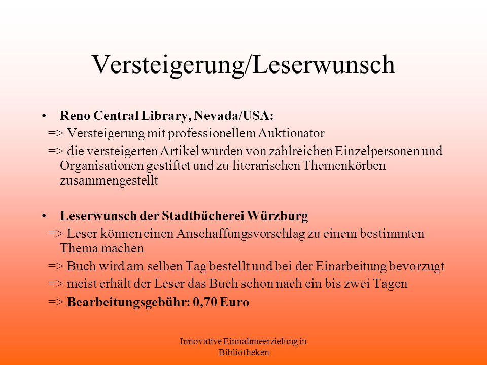 Versteigerung/Leserwunsch