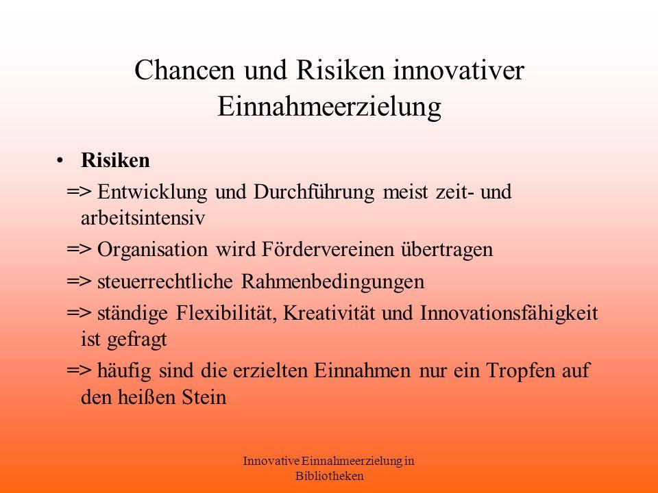 Chancen und Risiken innovativer Einnahmeerzielung
