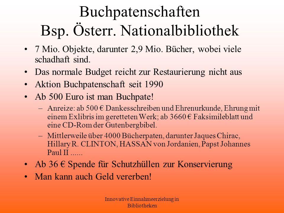 Buchpatenschaften Bsp. Österr. Nationalbibliothek