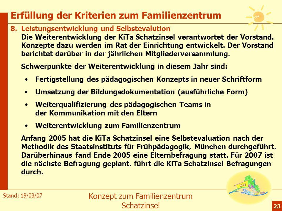 Erfüllung der Kriterien zum Familienzentrum