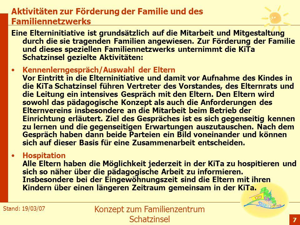 Aktivitäten zur Förderung der Familie und des Familiennetzwerks