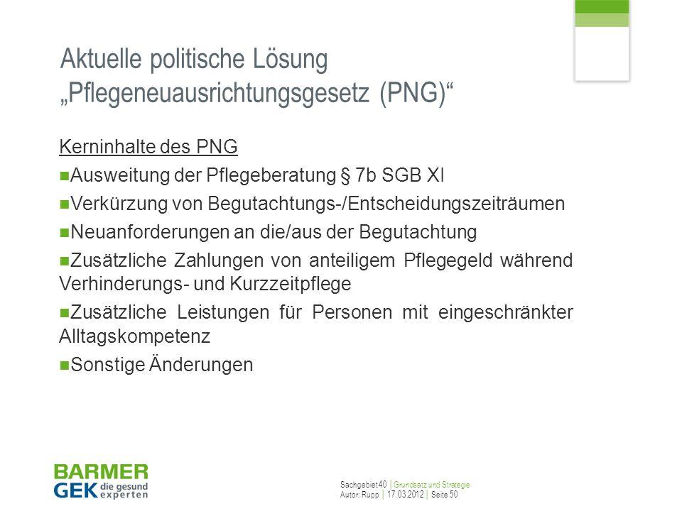 """Aktuelle politische Lösung """"Pflegeneuausrichtungsgesetz (PNG)"""