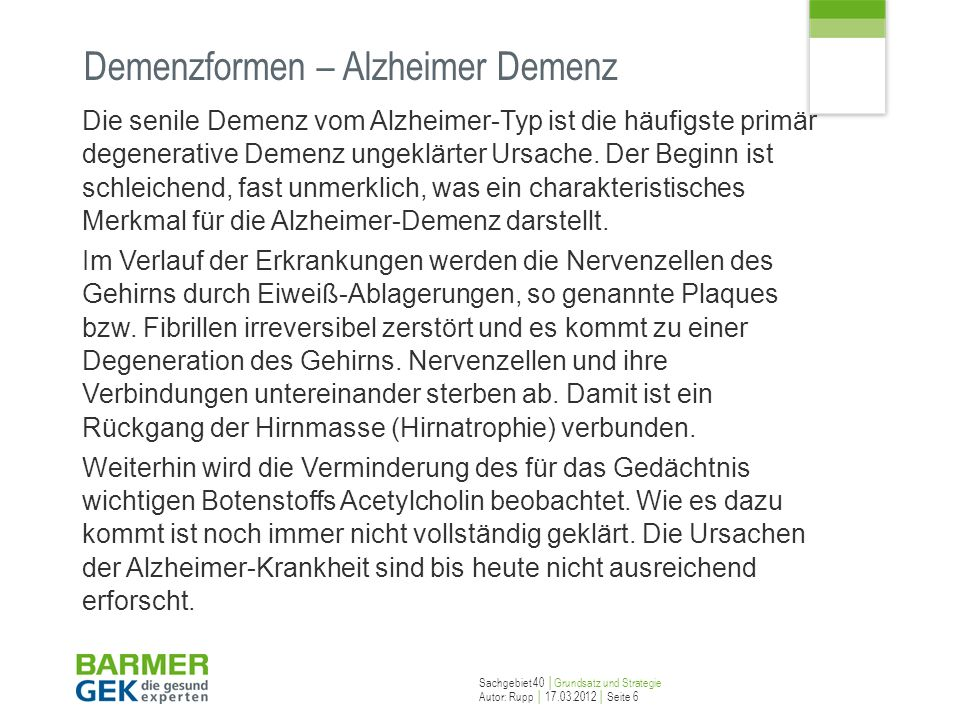 Demenzformen – Alzheimer Demenz