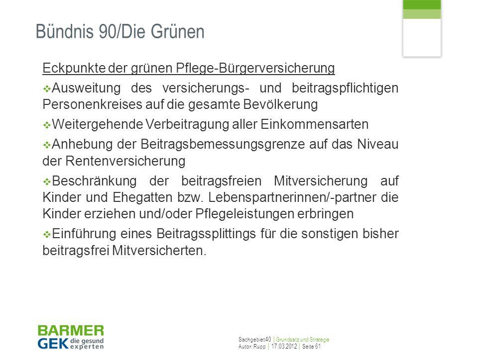 Bündnis 90/Die Grünen Eckpunkte der grünen Pflege-Bürgerversicherung