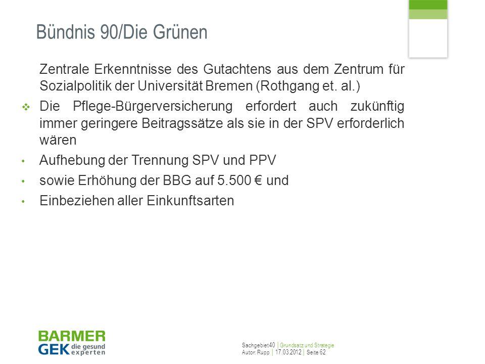 Bündnis 90/Die Grünen Zentrale Erkenntnisse des Gutachtens aus dem Zentrum für Sozialpolitik der Universität Bremen (Rothgang et. al.)