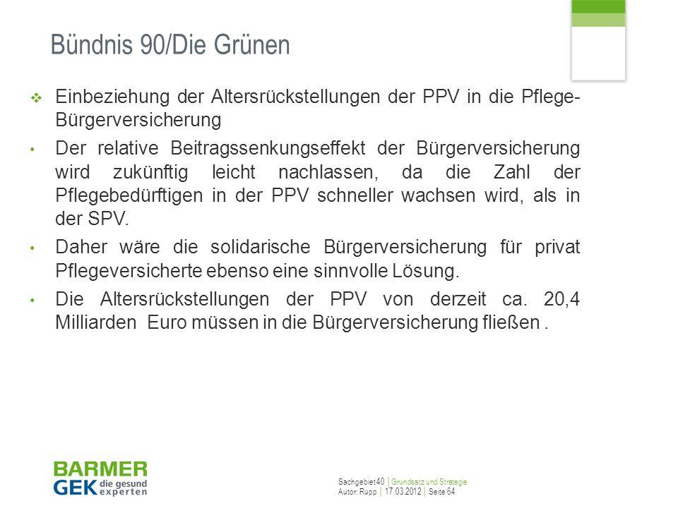 Bündnis 90/Die GrünenEinbeziehung der Altersrückstellungen der PPV in die Pflege- Bürgerversicherung.