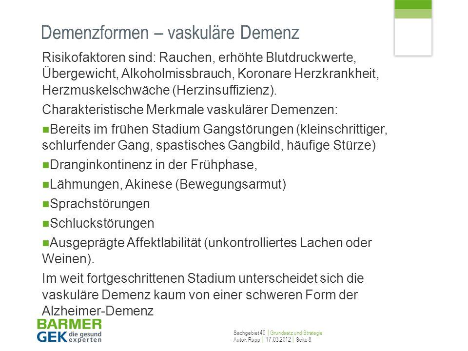 Demenzformen – vaskuläre Demenz