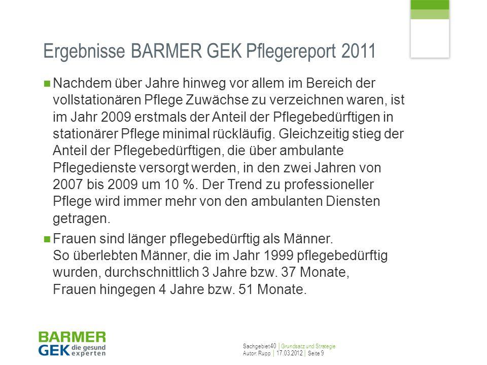 Ergebnisse BARMER GEK Pflegereport 2011