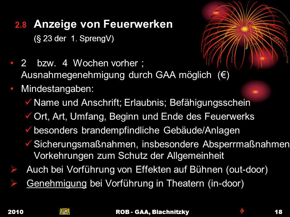2.8 Anzeige von Feuerwerken (§ 23 der 1. SprengV)