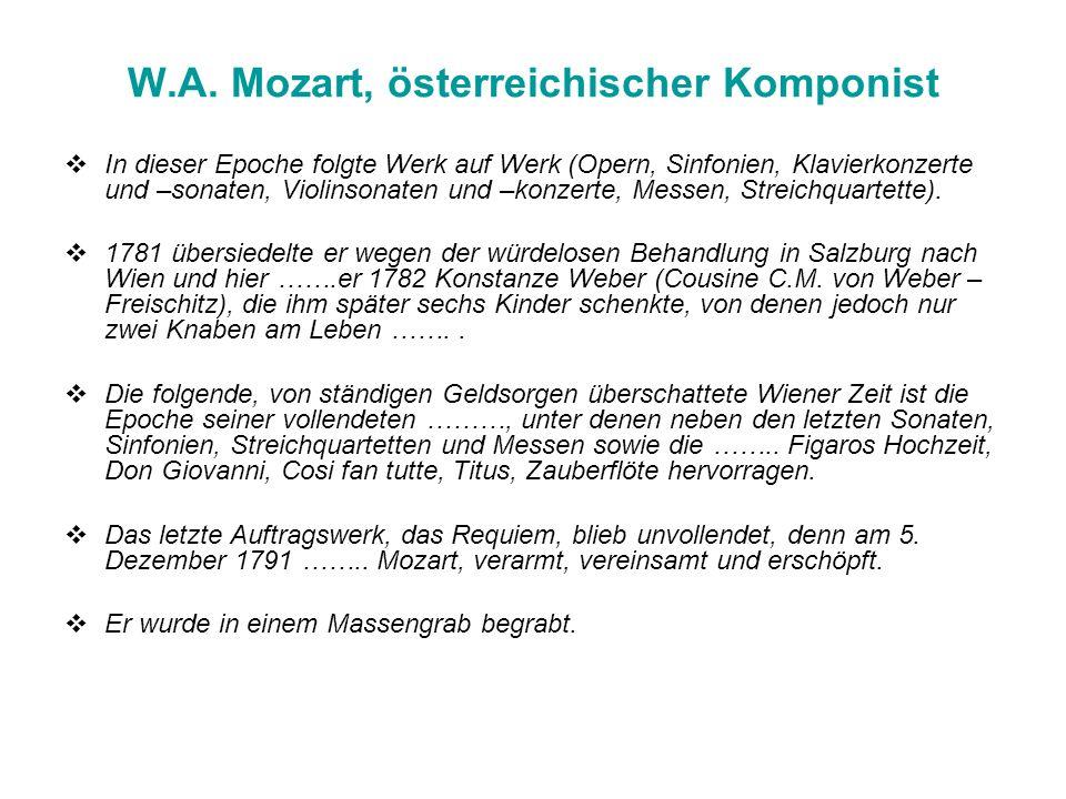 W.A. Mozart, österreichischer Komponist