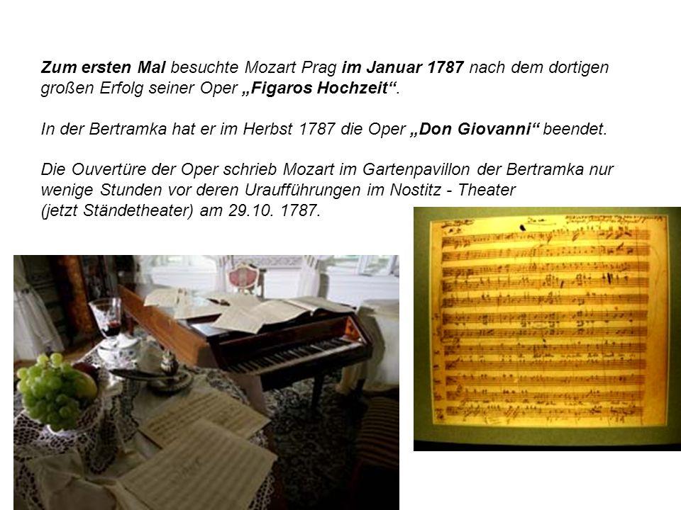 Zum ersten Mal besuchte Mozart Prag im Januar 1787 nach dem dortigen