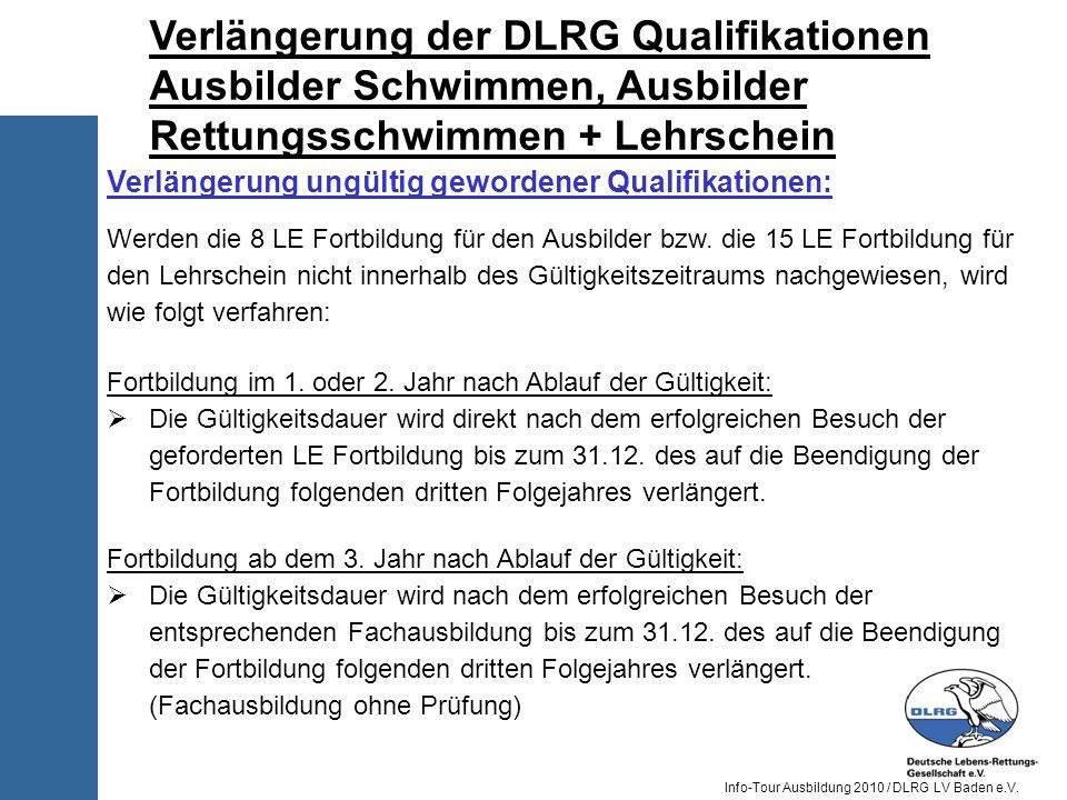 Verlängerung der DLRG Qualifikationen Ausbilder Schwimmen, Ausbilder Rettungsschwimmen + Lehrschein