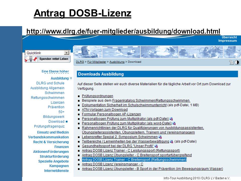 Antrag DOSB-Lizenz http://www.dlrg.de/fuer-mitglieder/ausbildung/download.html