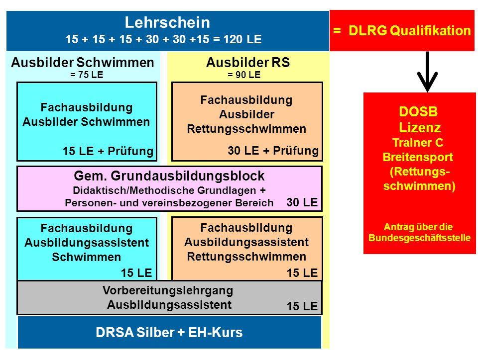 Lehrschein = DLRG Qualifikation Ausbilder Schwimmen Ausbilder RS DOSB