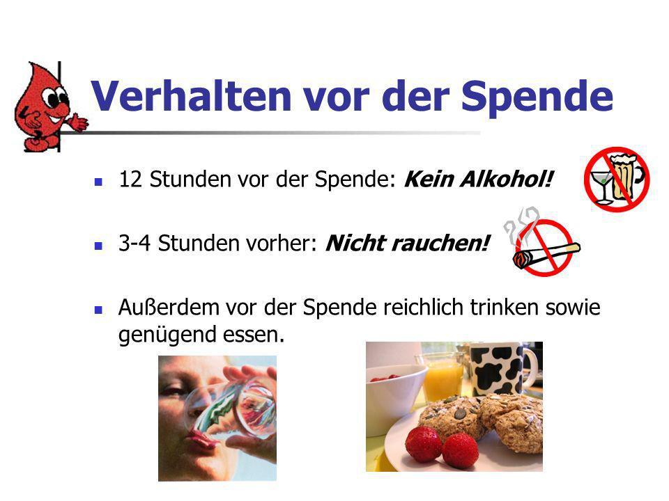 Verhalten vor der Spende