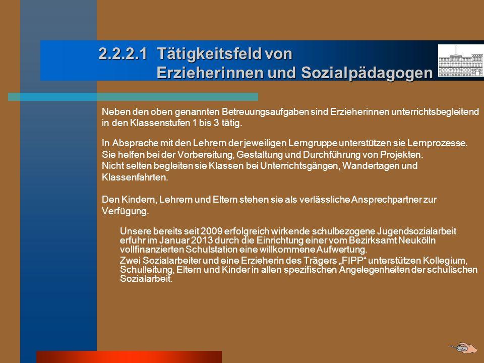 2.2.2.1 Tätigkeitsfeld von Erzieherinnen und Sozialpädagogen