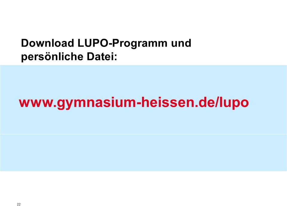 Download LUPO-Programm und persönliche Datei: