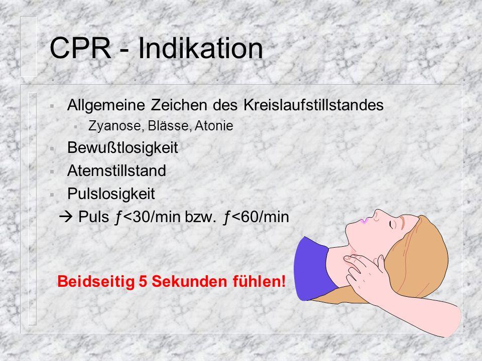 CPR - Indikation Allgemeine Zeichen des Kreislaufstillstandes
