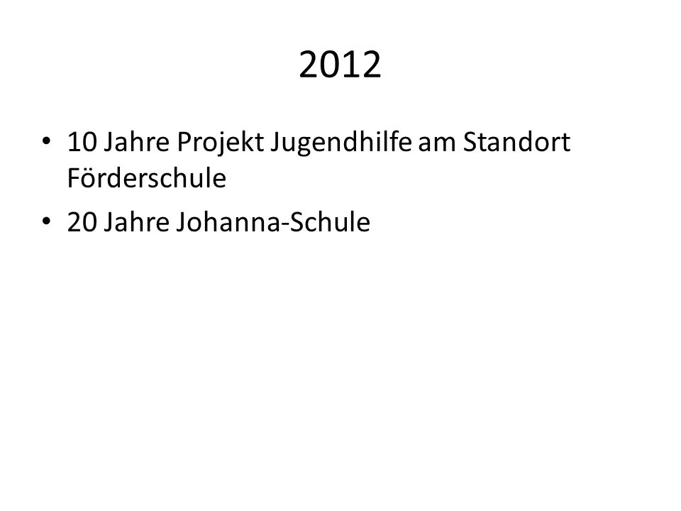 2012 10 Jahre Projekt Jugendhilfe am Standort Förderschule