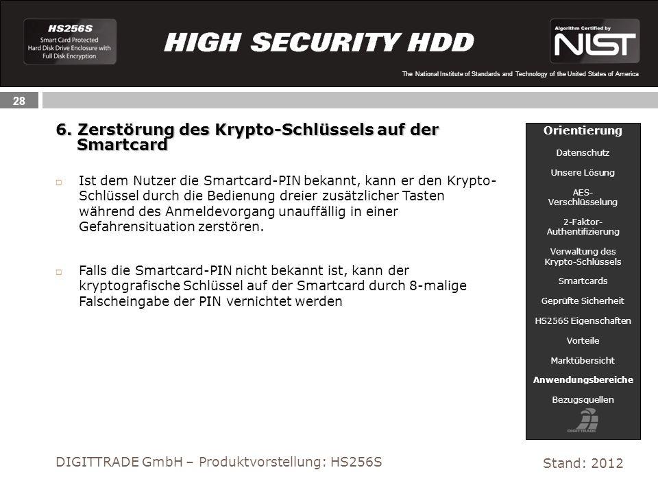 6. Zerstörung des Krypto-Schlüssels auf der Smartcard