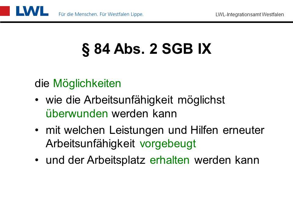 § 84 Abs. 2 SGB IX die Möglichkeiten