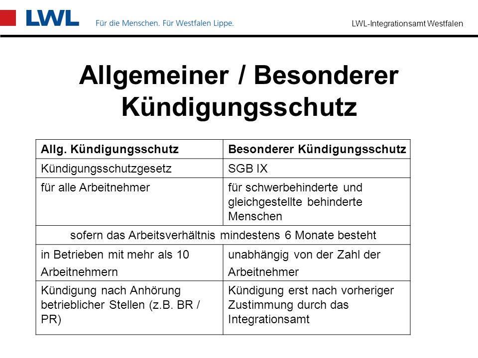 Allgemeiner / Besonderer Kündigungsschutz