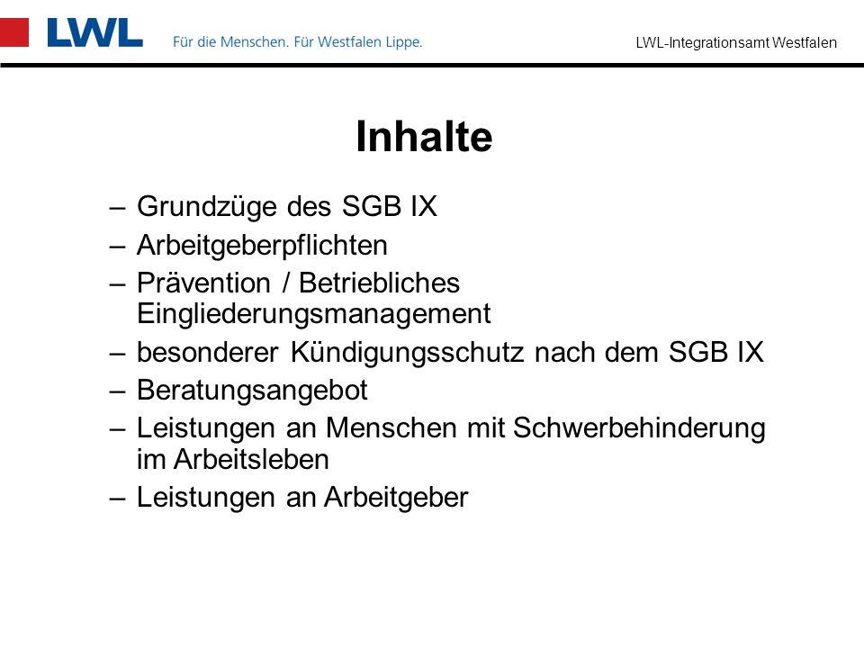 Inhalte Grundzüge des SGB IX Arbeitgeberpflichten
