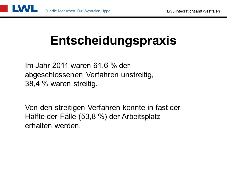 EntscheidungspraxisIm Jahr 2011 waren 61,6 % der abgeschlossenen Verfahren unstreitig, 38,4 % waren streitig.