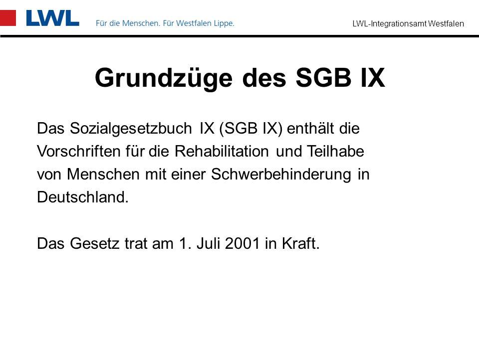 Grundzüge des SGB IX Das Sozialgesetzbuch IX (SGB IX) enthält die