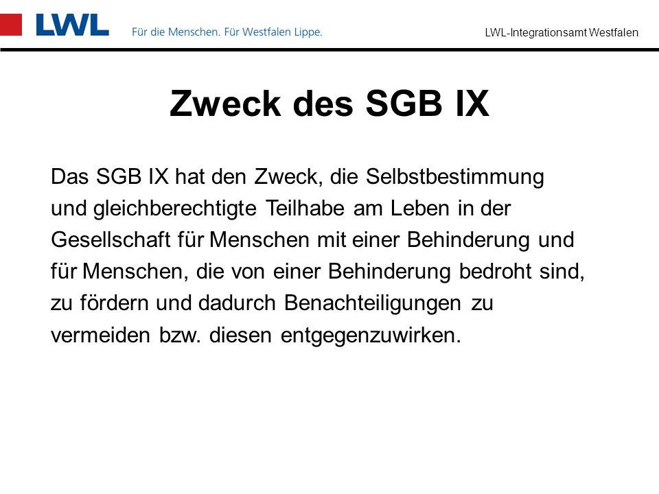 Zweck des SGB IX Das SGB IX hat den Zweck, die Selbstbestimmung