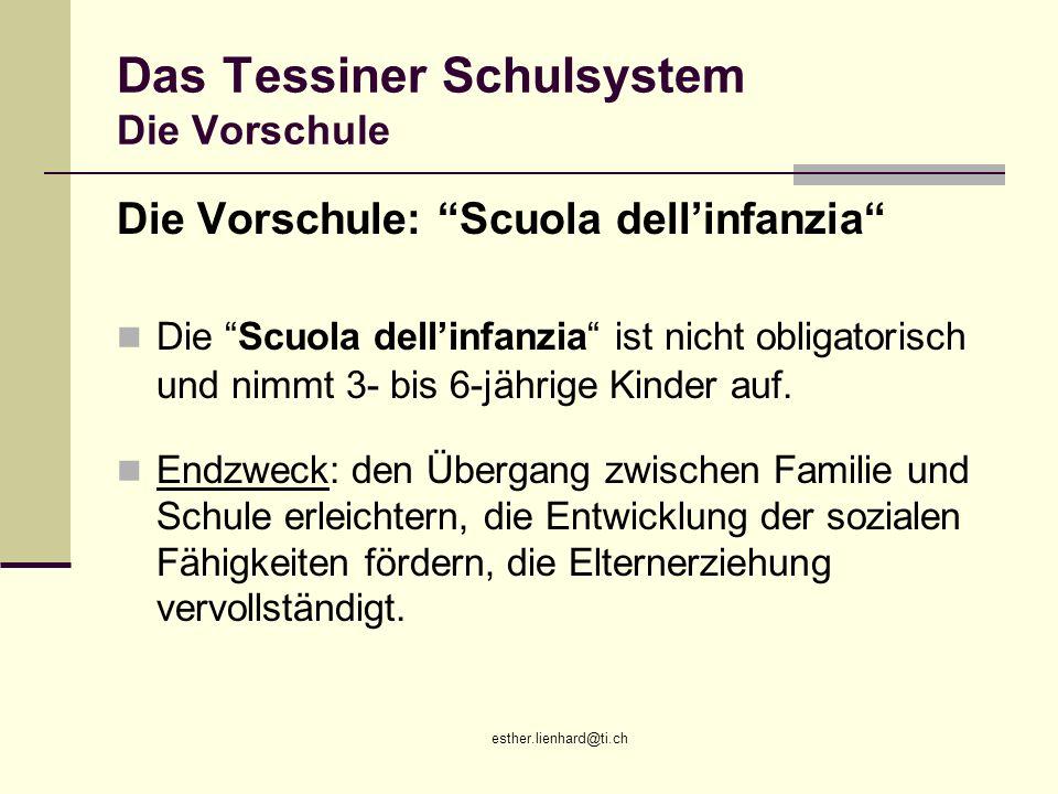Das Tessiner Schulsystem Die Vorschule