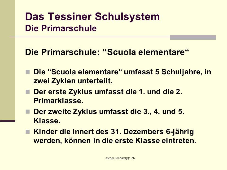 Das Tessiner Schulsystem Die Primarschule