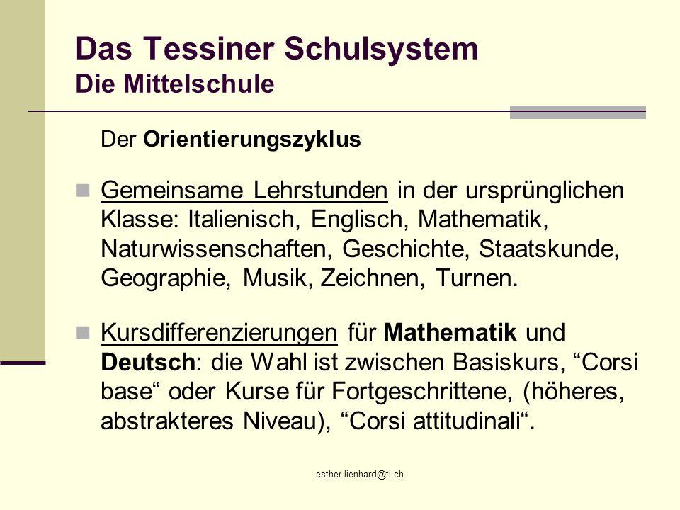 Das Tessiner Schulsystem Die Mittelschule