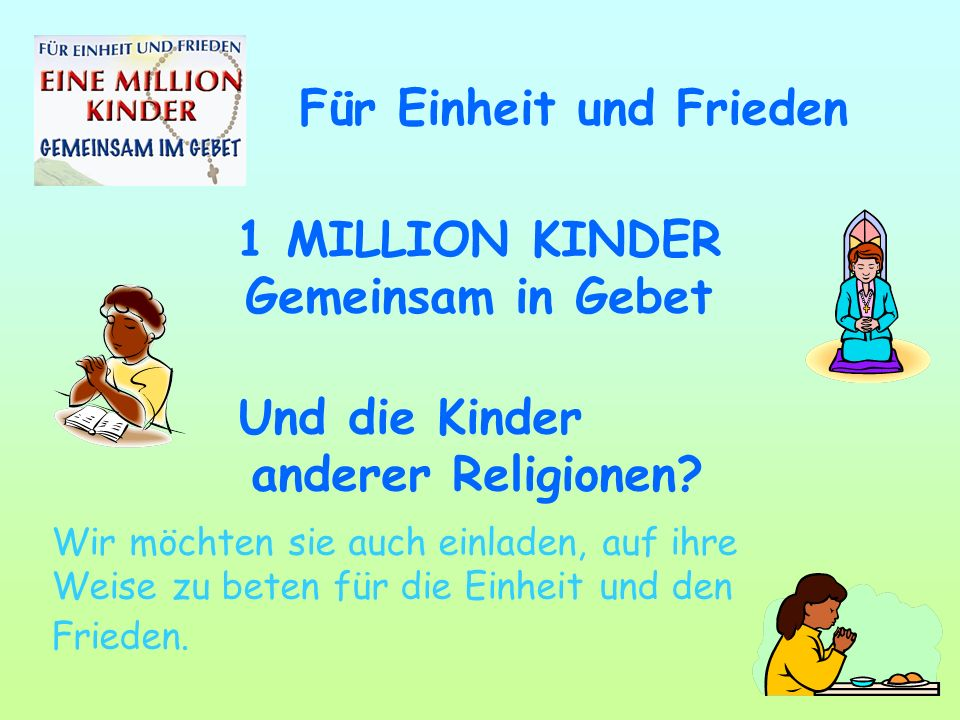 1 MILLION KINDER Gemeinsam in Gebet