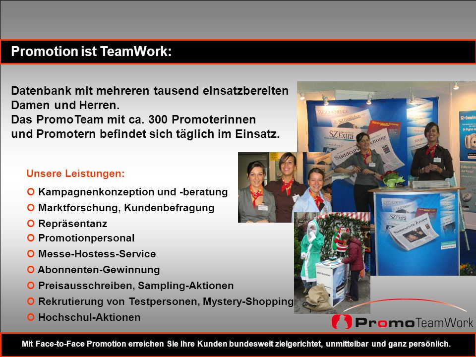 Promotion ist TeamWork: