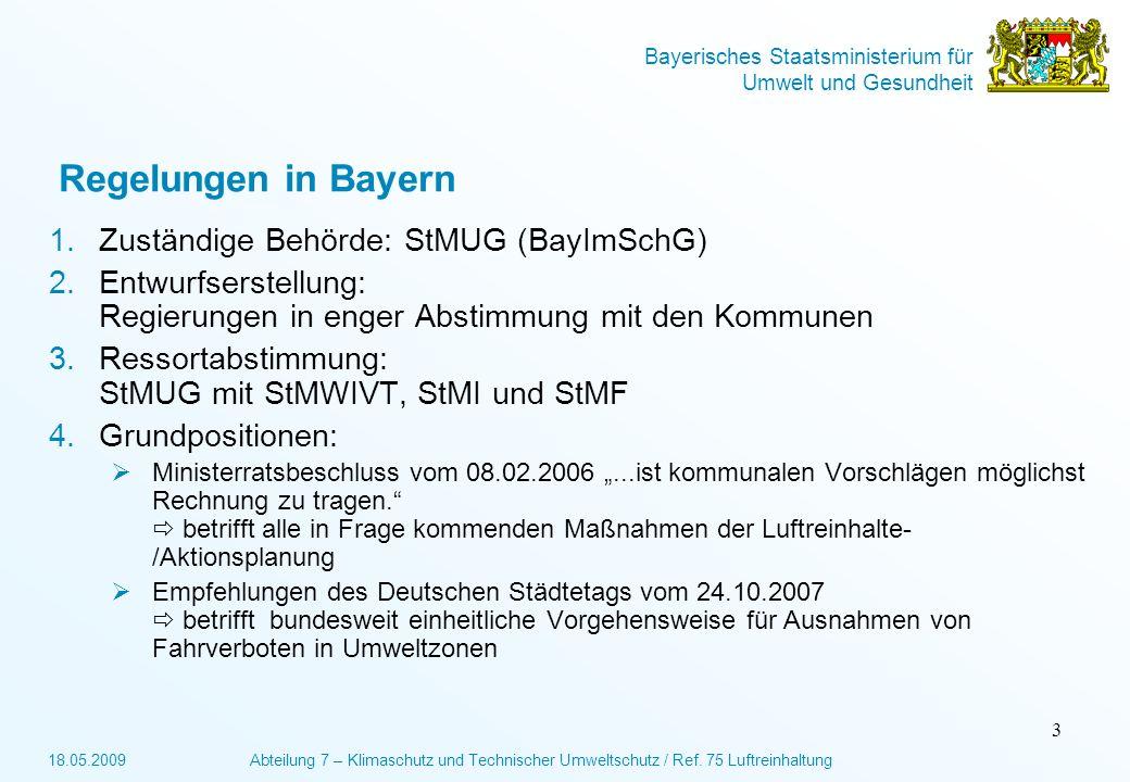 Regelungen in Bayern Zuständige Behörde: StMUG (BayImSchG)