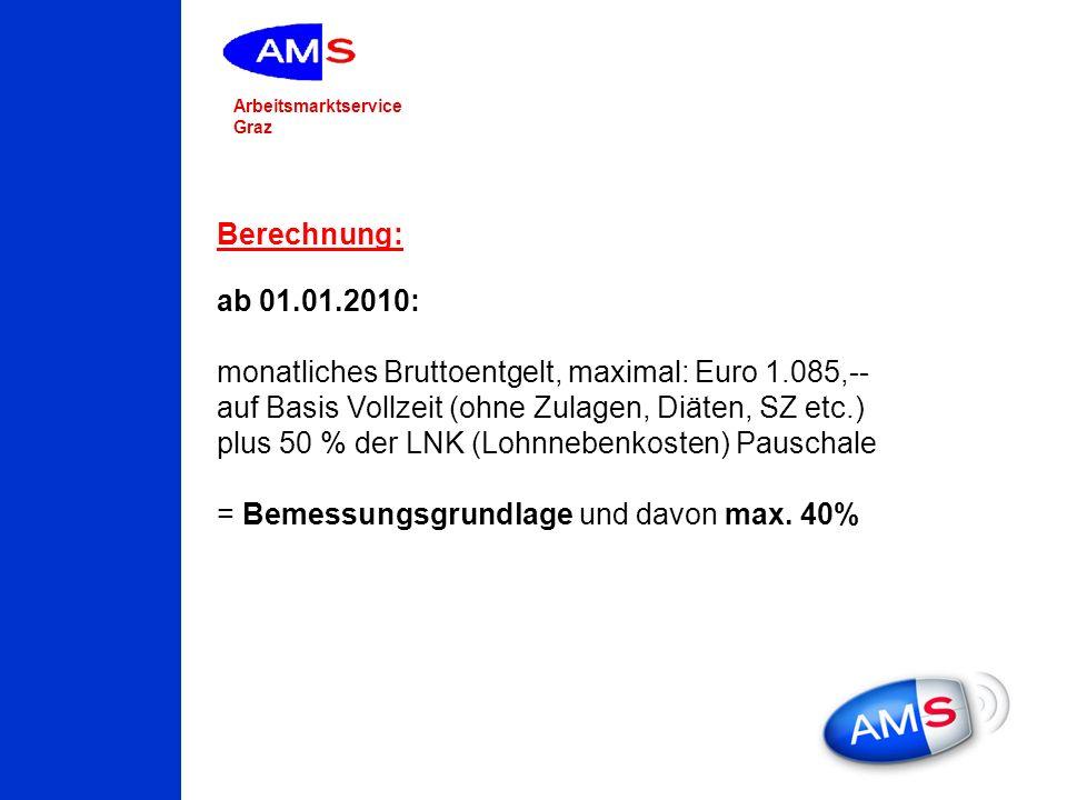 Berechnung: ab 01.01.2010: monatliches Bruttoentgelt, maximal: Euro 1.085,-- auf Basis Vollzeit (ohne Zulagen, Diäten, SZ etc.)