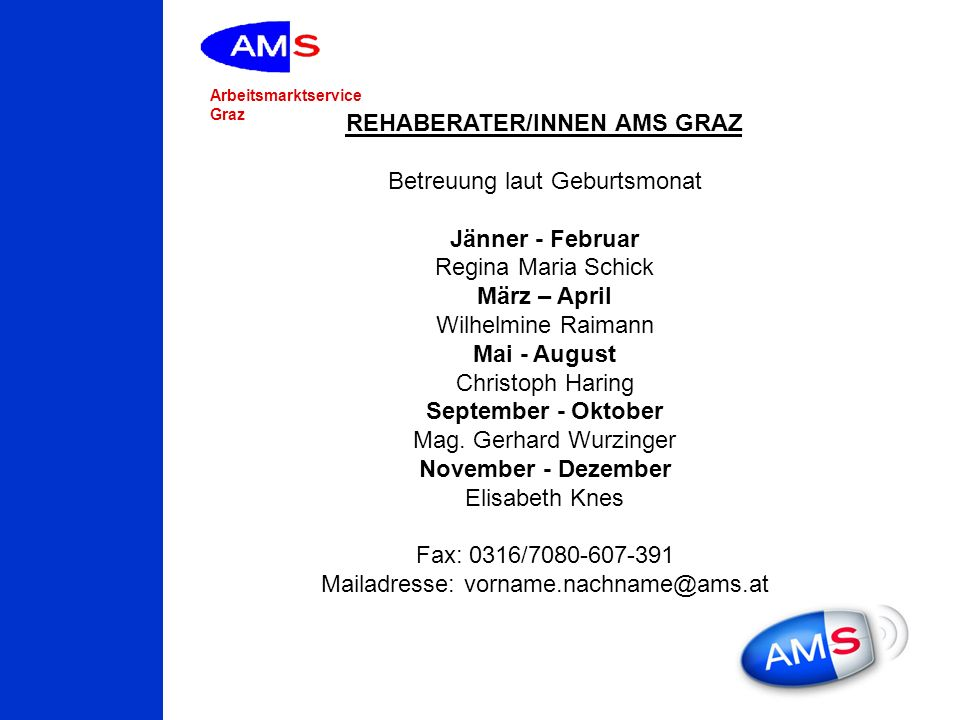 REHABERATER/INNEN AMS GRAZ