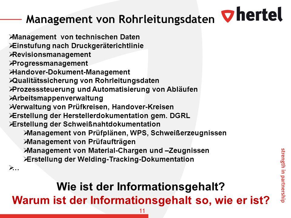 Management von Rohrleitungsdaten
