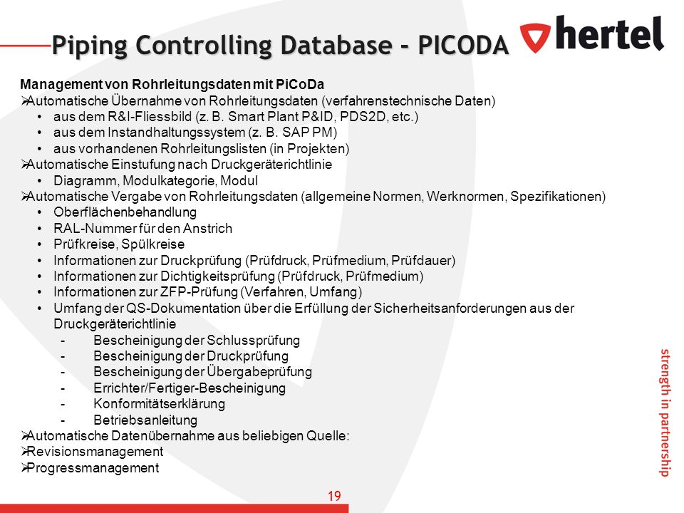 Piping Controlling Database - PICODA