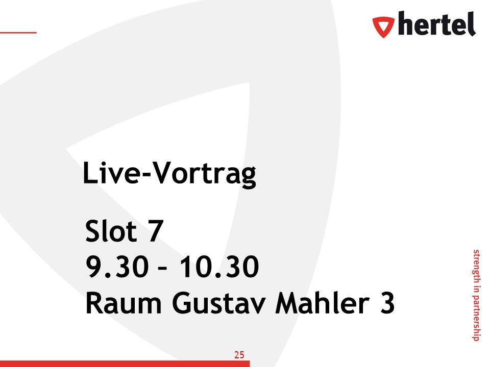 Live-Vortrag Slot 7 9.30 – 10.30 Raum Gustav Mahler 3 25