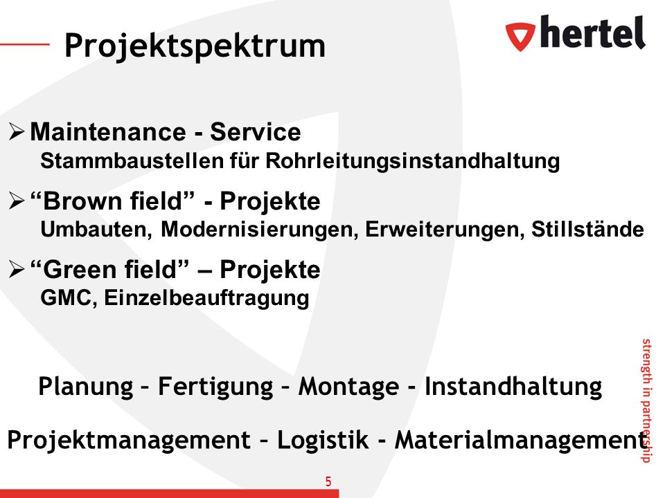 Projektspektrum Maintenance - Service Brown field - Projekte
