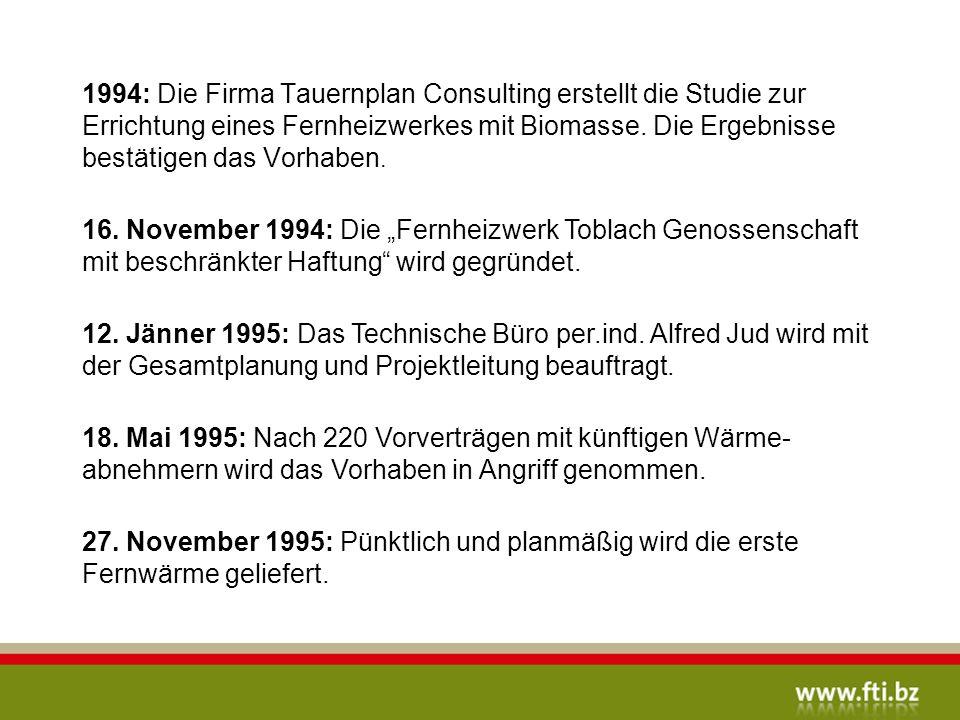 1994: Die Firma Tauernplan Consulting erstellt die Studie zur Errichtung eines Fernheizwerkes mit Biomasse. Die Ergebnisse bestätigen das Vorhaben.