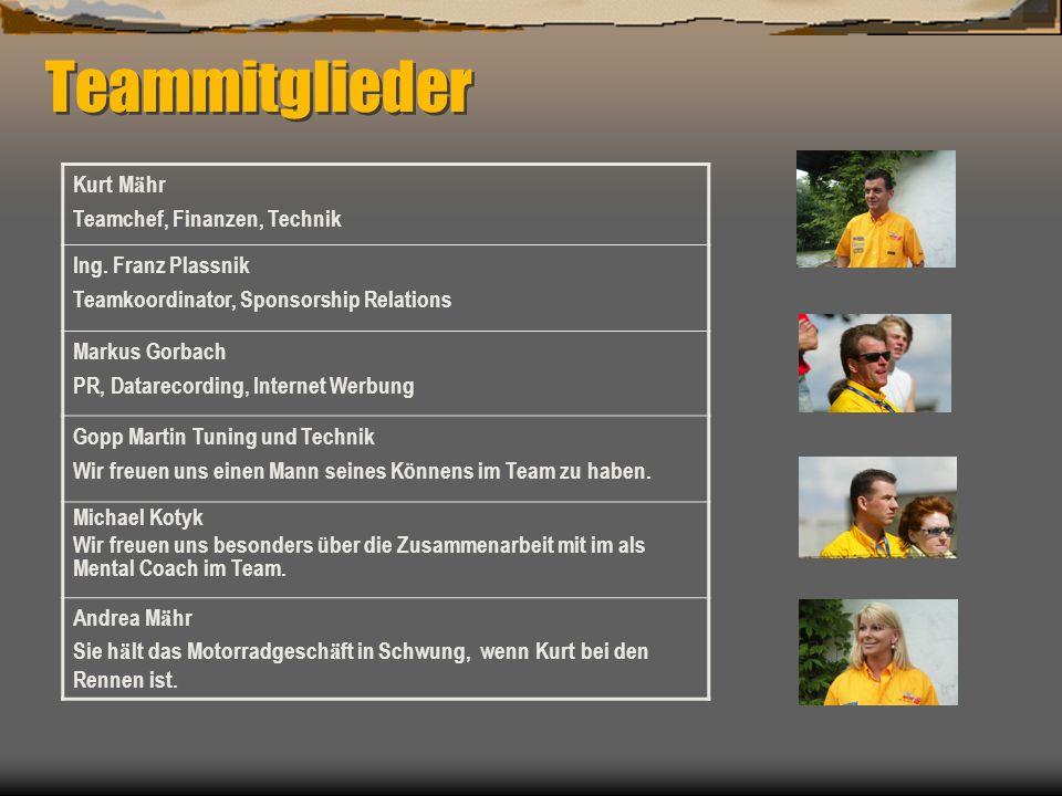 Teammitglieder Kurt Mähr Teamchef, Finanzen, Technik