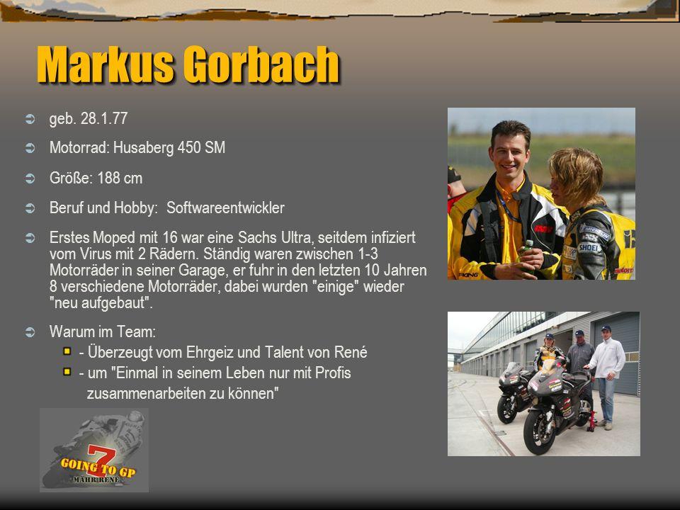 Markus Gorbach geb. 28.1.77 Motorrad: Husaberg 450 SM Größe: 188 cm