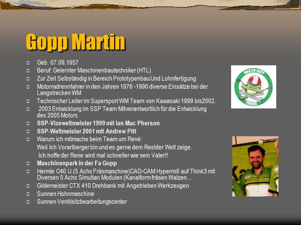 Gopp Martin Geb. 07.09.1957. Beruf: Gelernter Maschinenbautechniker (HTL) Zur Zeit Selbständig in Bereich Prototypenbau Und Lohnfertigung.