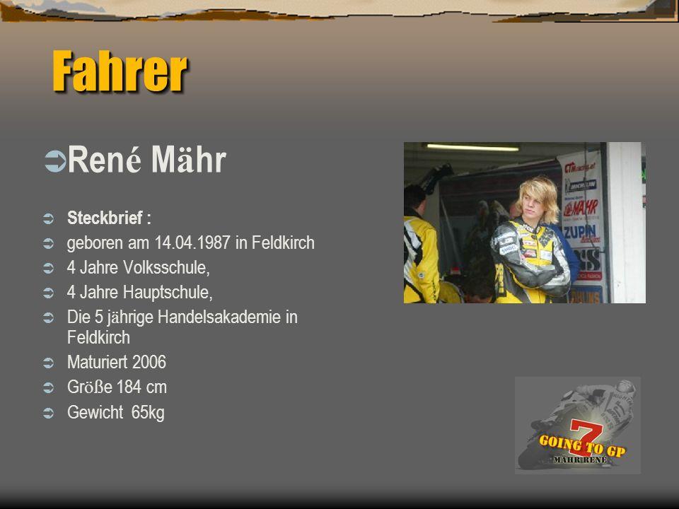 Fahrer René Mähr Steckbrief : geboren am 14.04.1987 in Feldkirch