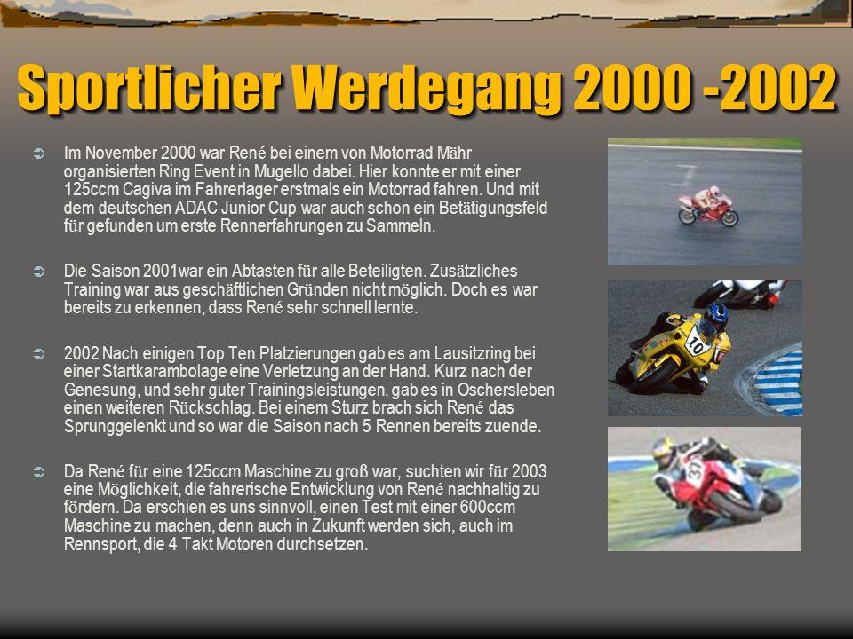 Sportlicher Werdegang 2000 -2002