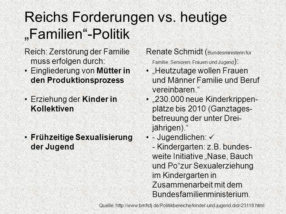 """Reichs Forderungen vs. heutige """"Familien -Politik"""