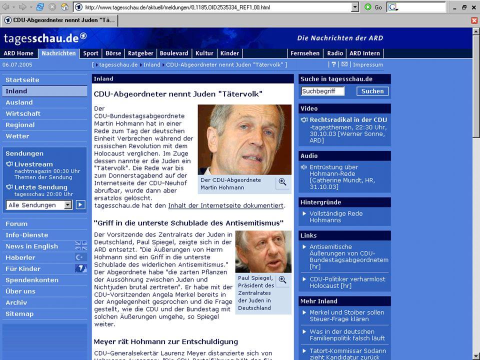 Motivation Am Beispiel einer Affäre. Martin Hohmann (CDU)